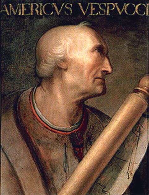 Portrait of Amerigo Vespucci with a map. Possibly painted by Cristofano dell'Altissimo.    Source: Public domain
