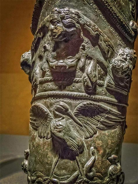 Closeup of the lion skin of Hercules and a stork fighting a snake on gladiator shin guards recovered from the gladiator barracks in Pompeii Roman 1st century AD. (Mary Harrsch/CC BY NC SA 2.0)