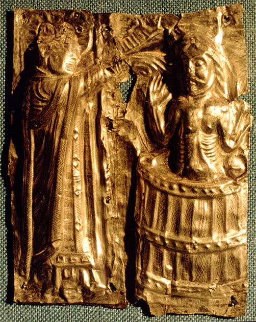 The baptism of Harald Bluetooth. Detail from baptismal font from circa 1100 in Tamdrup Kirke, Denmark. (Sven Rosborn / CC BY-SA)