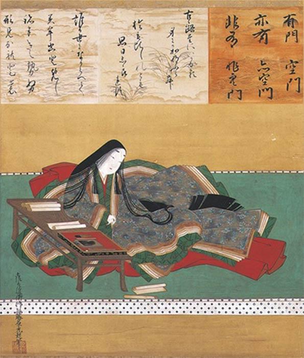 Murasaki Shikibu, author of Tale of Genji by Tosa Mitsuoki (17th century) (Public Domain)