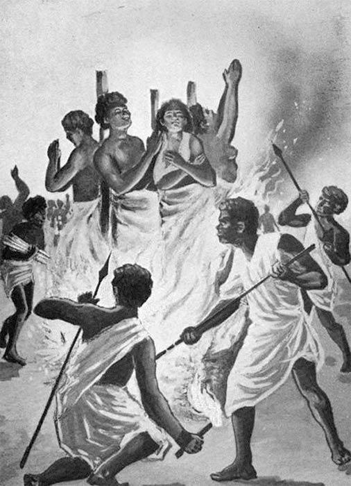 Christian martyrs burned at the stake by Ranavalona I in Madagascar by John Joseph Kilpin Fletcher (1900) (Public Domain)