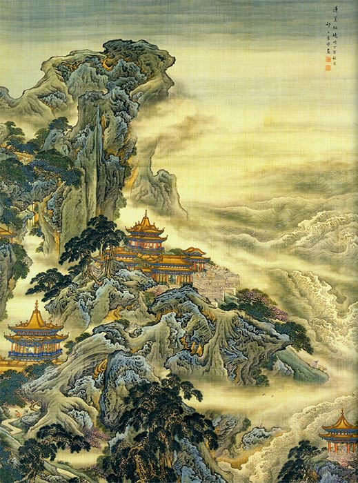 Penglai (detail), depiction of one of the mythical islands by Yuan Yao (18th century) (Public Domain)