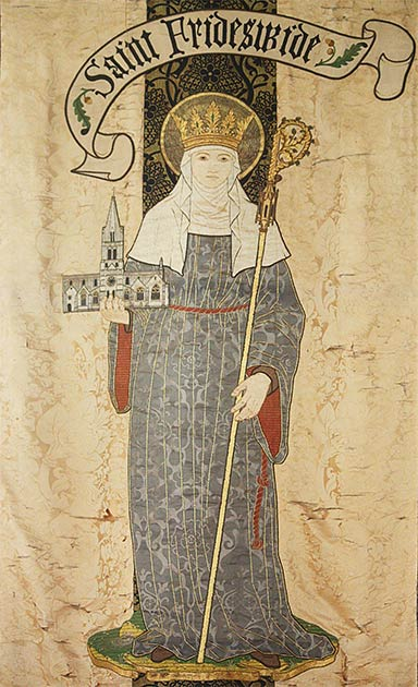 Banner from Christ Church Cathedral in Oxford, showing Saint Frideswide. (Fr Lawrence Lew, O.P. / CC BY-NC-ND 2.0)