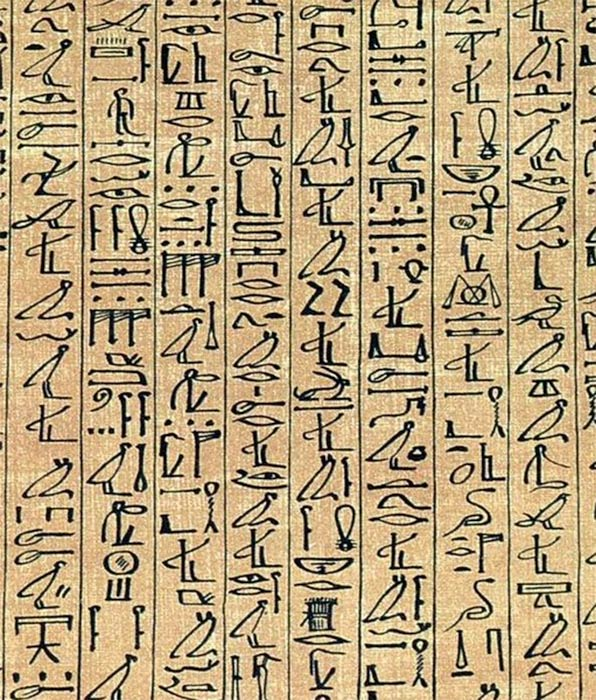 "A section of the ancient 'Papyrus of Ani"" showing early cursive hieroglyphs. British Museum (Public Domain)"