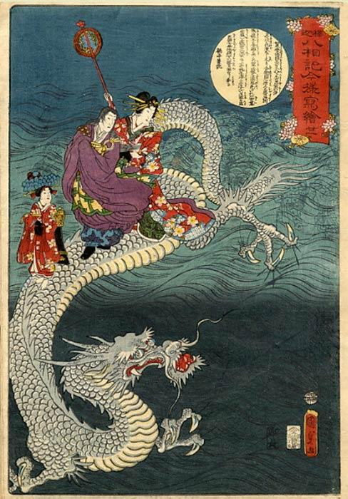 The Buddha riding a sea-dragon, by Kunisada. (Public Domain)