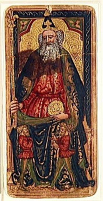 The Emperor, the only surviving trump from the Rothschild-Bassano deck. He carries a florin while holding a sceptre surmounted by the fleur-de-lis, both symbols of Florence. (Public Domain)