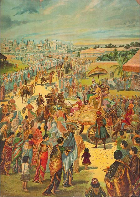 The wedding party of Rama and Sita returns to Ayodhya. (Public Domain)