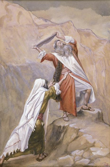 Moses destroying the tables by James Tissot (1896–1902)(Public Domain)