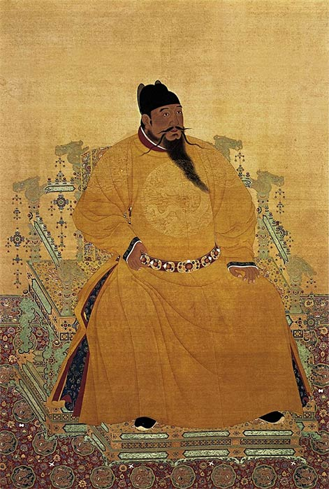 Emperor Chengzu of the Ming Dynasty, commonly called the Yongle Emperor, sitting in the 'Dragon' chair. Taibei National Palace Museum (Public Domain)