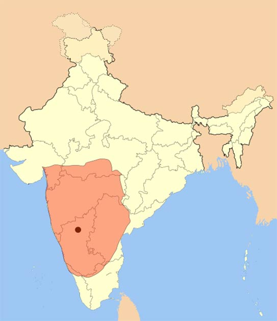 Map showing the area covered by the Badami Chalukya Empire between about 636 AD and 740 AD. (Mlpkr / CC BY-SA 3.0)