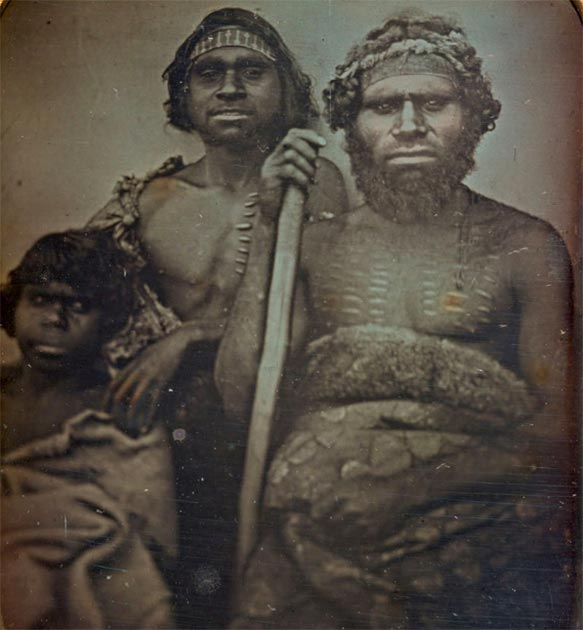 Koori Originals photographed by Douglas T. Kilburn around 1847 in Victoria, Australia. Their features are comparable with those of Carmel and Gokhman's Denisovan reconstruction. (Image: National Gallery of Victiria / Public Domain)