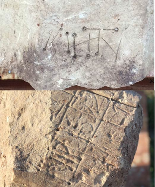 Medieval graffiti from the remains of the church. (HS2 Ltd)