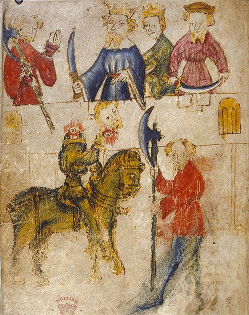 Sir Gawain and the Green Knight, from the original manuscript. (Public domain)