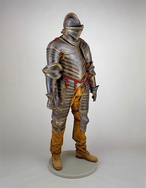 King Henry VIII's Italian-made suit of armor created in about 1544, 8 years after his last jousting fall, when he was already quite obese and ill. (Metropolitan Museum of Art / CC0)