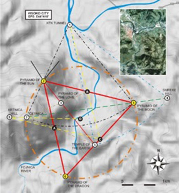 Topographic map of the Bosnian Pyramid Valley showing the peaks of Sun (northwest), Moon (east) and Dragon pyramids (south) forming an equilateral triangle. (Richard Hoyle / The Bosnian Pyramid of the Sun Foundation)