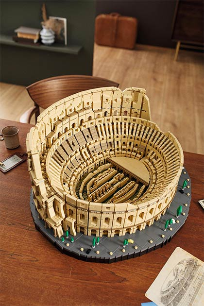 Overhead view of the LEGO Colosseum model. (LEGO)