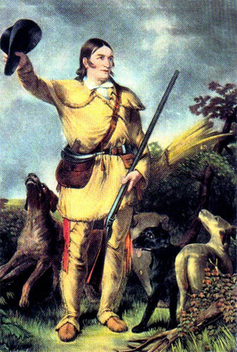 David Crockett (August 17, 1786 – March 6, 1836) was a classic American folk hero, from 'Exploring the West' by John Gadsby Chapman (Public Domain).
