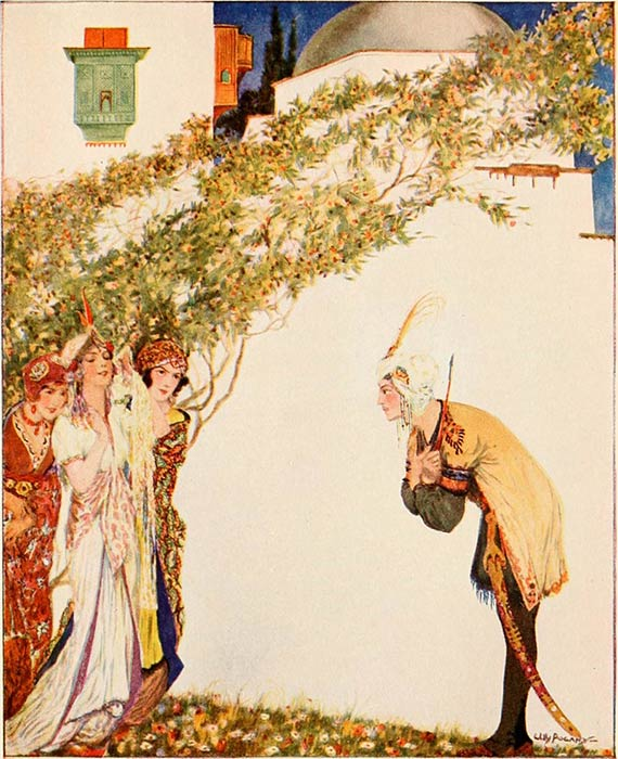An illustration of the story of Prince Ahmed and the Fairy Paribanou, More tales from the Arabian nights by Willy Pogany (1915) (Public Domain)