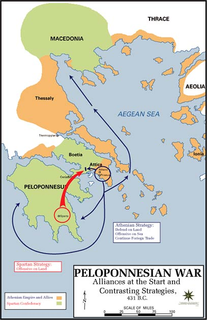 An overview of the Peloponnesian War with the orange areas showing the empire and allies of Athens and the green the Spartan Confederacy. (U.S. Army Cartographer, as amended by uploader to correct spelling mistake / Public domain)
