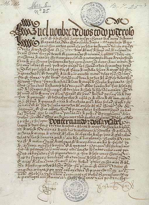 Original page from the Tratado de Tordesilhas. Biblioteca Nacional de Lisboa (Public Domain)