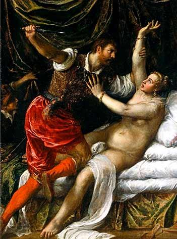 The rape of Lucretia by Sextus Tarquinius, son of Lucius Tarquinius Superbus. (Titian / Public domain)