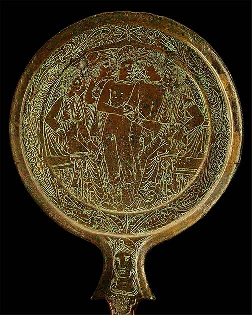 Etruscan mirror incised with the Judgement of Paris. (Fourth-third century BC) Musée du Louvre (CC BY-SA 3.0)
