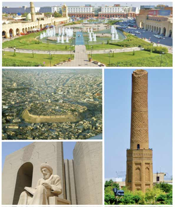 Some of the monuments being partially virtually mapped at Erbil. Clockwise, from top: Downtown, Mudhafaria Minaret, Statue of Ibn al-Mustawfi, Citadel of Erbil. ( CC BY-SA 4.0)