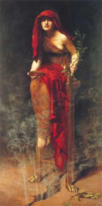 Priestess of Delphi  by John Collier, showing the Pythia sitting on a tripod with vapor rising from a crack in the earth beneath her (1891) Art Gallery South Australia (Public Domain)