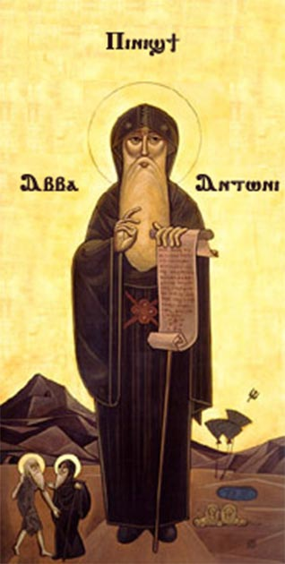 Coptic icon of Saint Anthony of the Desert, an early Christian ascetic. (Public Domain) Early Christian asceticism may have been influenced by Cynicism.