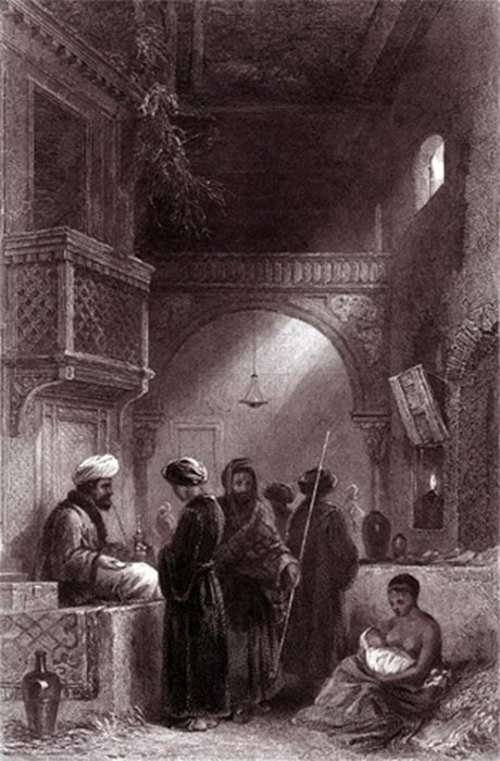 An artist's view of an Ottoman opium seller by F. W. Topham (London: E. Bell, c. 1850) (Public Domain)
