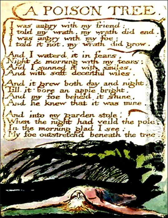 Original page of William Blake's poetic composition in which he mentions the mythical 'Tree of Poison'. (1794) British Museum. (Public Domain)