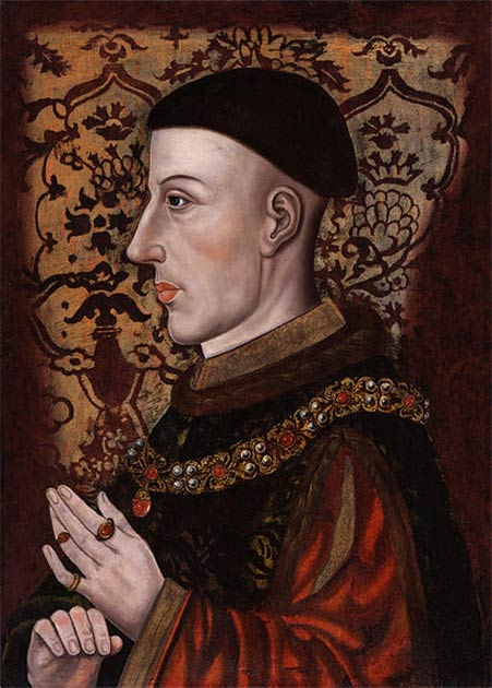 Catherine of Valois married King Henry V of England in 1420. 16th century posthumous portrait of Henry. (Public domain)