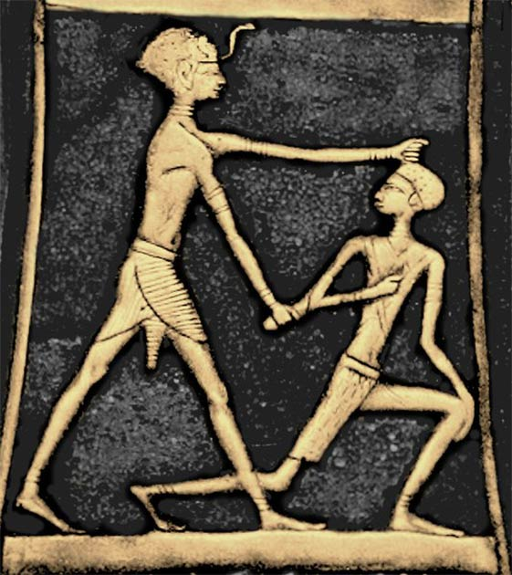 Depiction found on an axe of Pharaoh Ahmose I slaying a Hyksos. (Public domain)