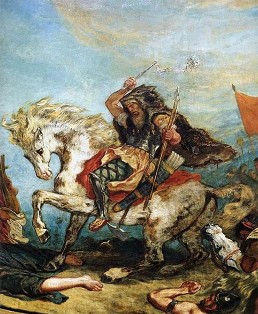 Detail of Attila the Hun from 'Attila and his Hordes Overrun Italy and the Arts' (1847). (Eugène Delacroix / Public Domain)