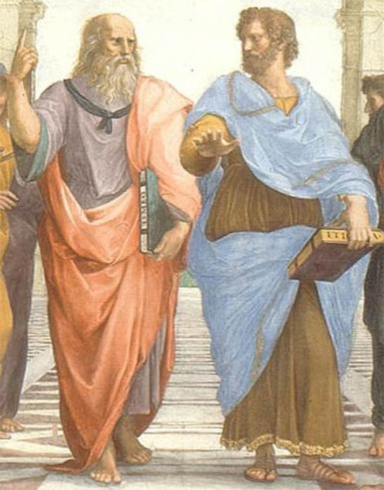 Plato and Aristotle in The School of Athens, by Rafael (1509) (Public Domain)