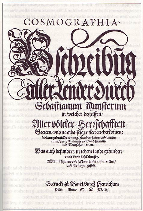 Title-page of the first edition of The Geography printed in Basel by Heinrich Petri. (Public Domain)