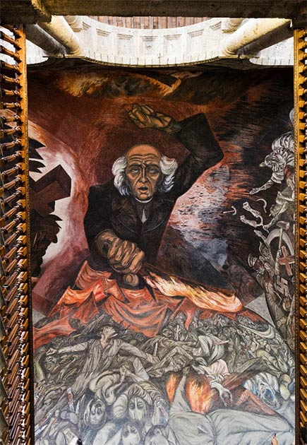 Famous mural painting of Hidalgo by the Mexican muralist José Clemente Orozco, at the Government Palace in Guadalajara. (Posztós János / Adobe Stock)