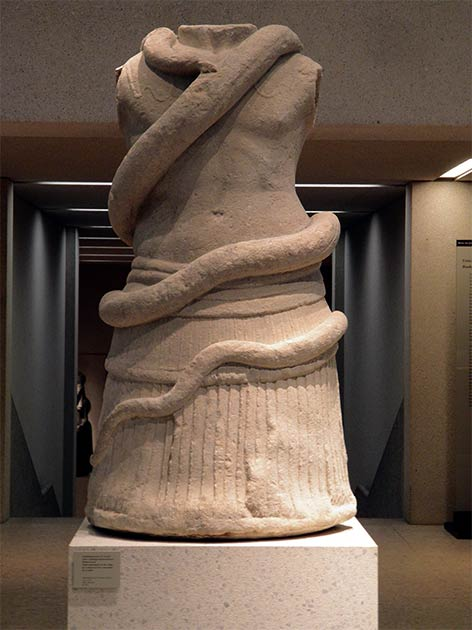 A tomb monument in the shape of a torso entwined by a snake, 1st century BC, Milet southwestern Turkey, which clearly links the snake with funerary practices in the Graeco-Roman period of Turkey, as the Greek snake altar of Patara does. (Carole Raddato from FRANKFURT, Germany / CC BY-SA 2.0)