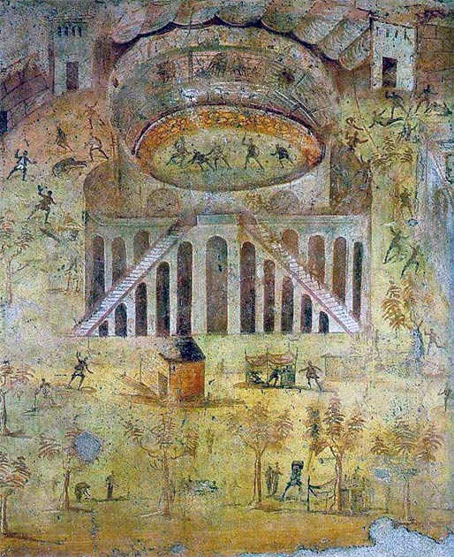 """The Amphitheater at Pompeii, a fresco depicting the riot between the Nucerians and the Pompeians"", Casa della Rissa nell'Anfiteatro, Pompeii. (Public Domain)"
