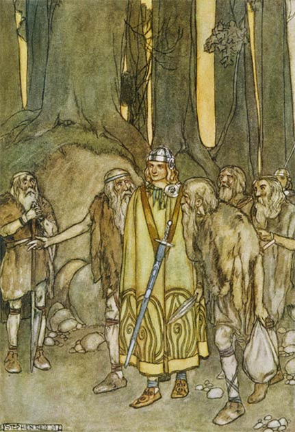 Fionn mac Cumhaill meets his father's old retainers in the forests of Connacht; illustration by Stephen Reid. (Public Domain)