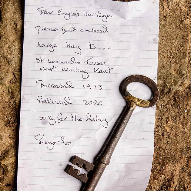The ancient key was returned by St. Leonard's Tower in West Malling, Kent, accompanied by an anonymous note.  (Jim Holden / English Heritage)