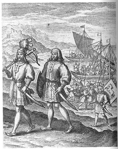 Depiction of Hengist and Horsa landing in Britain for the first time. (Richard Verstegan / Public domain)