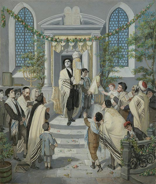 Painting depicting Shavuot (Pentecost), 1880. Themes present include the abundant greenery, the central role of the Torah Scroll, the importance of children, and even the Tablets     of the Law standing watch over all, exactly like the two cartouches of the name of the Aten (now in the Jewish Museum, Manhattan). (Moritz Daniel Oppenheim / Public domain)