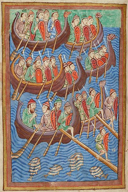 12th century depiction of invading Vikings from the Life and Miracles of St. Edmund. (Public Domain)