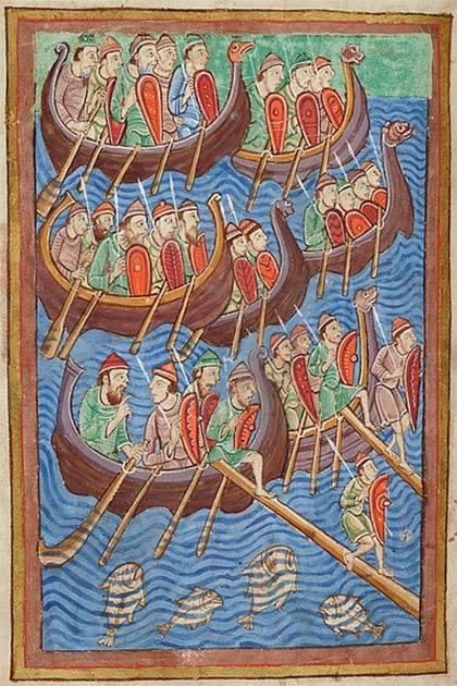Representación del siglo XII de los vikingos invasores de la vida y los milagros de San Edmundo. (Dominio publico)