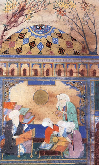 Painting of Al-Tusi and his colleagues working on the Zij-i Ilkhani at the Maragheh observatory. (Public domain)