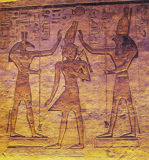 Horus, on the right, and Set, on the left, crowning Ramses II, from a relief in the minor temple of Abu Simbel. (Chipdawes / Public domain)