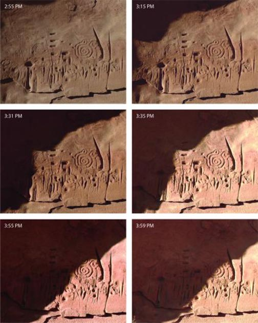 Patterns of sunlight and shadow move across the rock carvings only at certain times of the day, and only for a few days around the solstices and equinoxes, showing the sophistication of the Pueblo people. (Jagiellonian University)