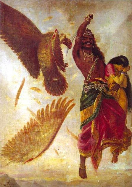 Ravana abducts Sita and the divine bird, Jatayu, tries to rescue her. (Public Domain)