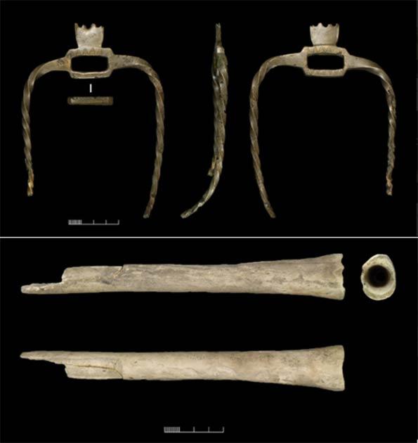 Unique pronged object (top) found alongside human bone musical instrument (bottom) from Wilsford G58 (Credit: © University of Birmingham, David Bukachit/ Wiltshire Museum/Antiquity)